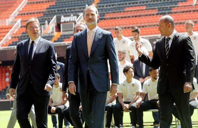 Felipe VI celebró la Copa del Rey y el Centenario del Valencia enMestalla