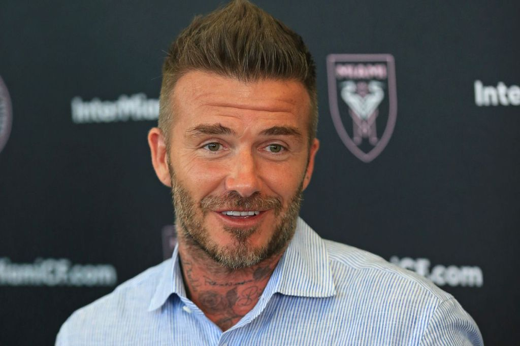 Inter Miami CF owner David Beckham laughs during a press conference at Broward County Stadium in Lauderhill on Sunday, June 2, 2019. JOHN MCCALL / SOUTH FLORIDA SUN SENTINEL